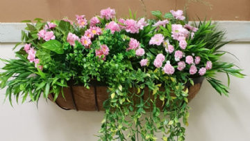 Artificial Wall Manger ,  Pink Flowers and Greenery